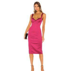 Fuchsia Satin Midi Dress NWT